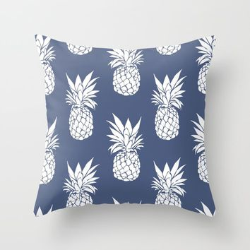 Pineapple Blues Throw Pillow by allisone