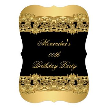 Ornate Classy Gold Black Birthday Party 3 5x7 Paper Invitation Card