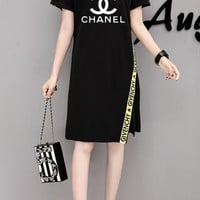 """Chanel"" Fashion Casual Letter Logo Print Webbing Bare Shoulder Short Sleeve Medium Long Section T-shirt Dress"