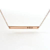 Personalized Bar Necklace Girlfriend Gift Rose Gold Skinny Bar Gold Layered Necklace Bridesmaid Jewelry Girl Friend Gift Layering Jewelry