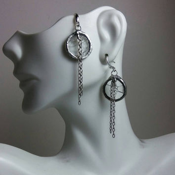 Stained Glass Earrings of Clear Crash Circles & Sterling Tassels