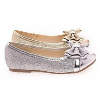 Cara08 By Dotty, Girl / Children's Metallic Glitter Ballet Flat w Bow