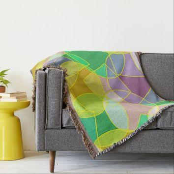 Stained glass geometric pattern throw blanket