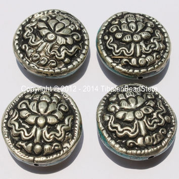4 Beads - Big Tibetan Repousse Carved Tibetan Silver Auspicious Lotus Round Disc Shape Beads with Turquoise Side Inlays -  B2280-4