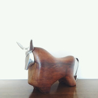 Vintage Bull Figurine . Mid Century Modern Sculpture . Modern Animal Sculpture . Modernist Bull . Danish Modern . Bull Horns