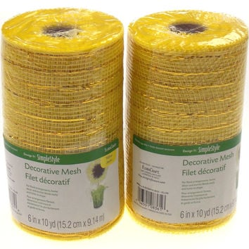 """Yellow 6"""" Decorative Mesh Simple Style Flora Craft Set 2 Rolls 10 Yards Floral"""