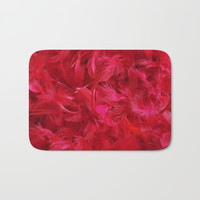Red feathers Bath Mat by Knm Designs
