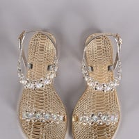 Jeweled Open Toe Jelly Flat Sandal 4 Colors