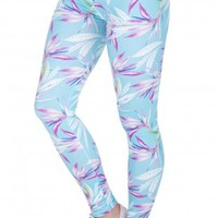 Blue Leaves Color Printing Casual Legging