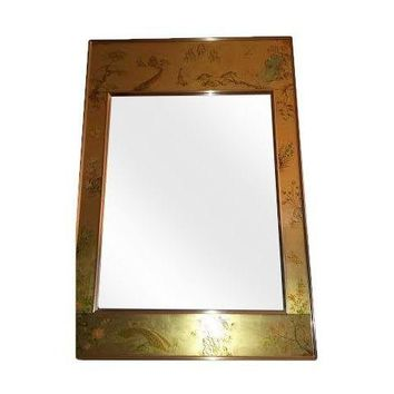 Pre-owned LaBarge Eglomise Chinoiserie mirror