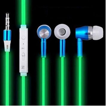 Glow In The Dark Earphones Luminous Headphones Night Light Glowing Headset In-Ear Stereo Sport Headphone With Mic