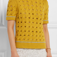 Topshop Unique - Cookham open-knit cotton top