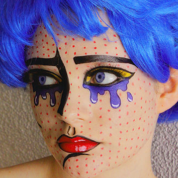 Pop Art Comic Girl Tattoos - Temporary Tattoos - Costume Halloween 2013