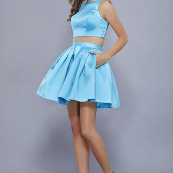 Two Piece Satin Dress with Princess Seams