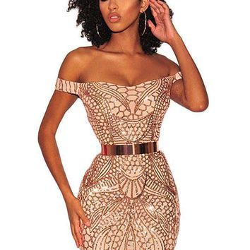Gold Sequined Nude Illusion Off Shoulder Dress