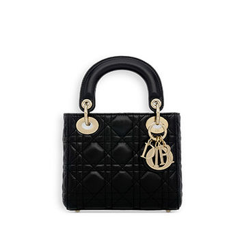 "Mini ""lady dior"" bag in black lambskin - Dior"