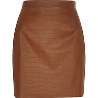 River Island Womens Brown leather-look mock croc A-line skirt