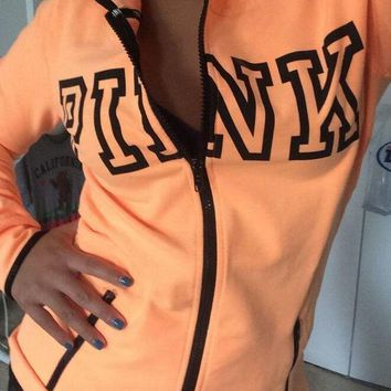 ICIKHI2 Victoria's Secret PINK printing hooded pattern and long sleeved sweater Tagre-