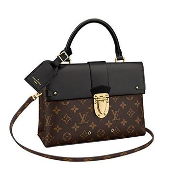 LV Women Shopping Leather Tote Louis Vuitton Monogram Canvas One Handle Flap Bag MM Handbag Article: M43125 Made in France