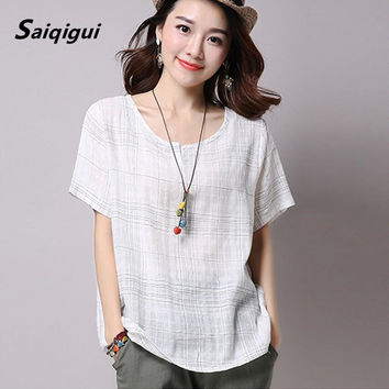 Saiqigui Plus Size 2017 Summer Style Women Blouses Casual Loose Cotton Linen Blouse half Sleeve Shirts Women Tops blusas M-XXL