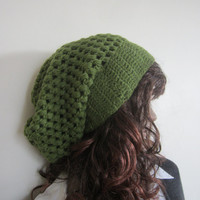 LEAF GREEN  BEANIE,  Crochet beanie, Fall Autumn winter fashion, slouchy beanie,  Chunky bubble slouchy beanie, wool blend with color o