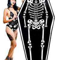 Starry Skeleton Coffin Shaped Oversized Beach Towel by Rat Baby / Too Fast Clothing