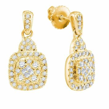 14kt Yellow Gold Women's Princess Round Diamond Soleil Square Dangle Earrings 3-8 Cttw - FREE Shipping (US/CAN)