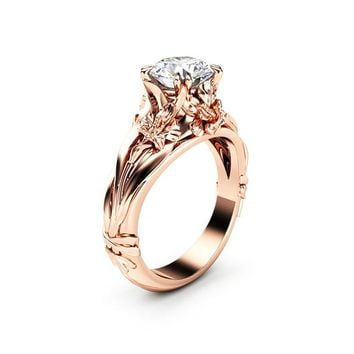 Flower Engagement Ring Moissanite Ring 14K Rose Gold Anniversary Ring Unique Engagement Ring