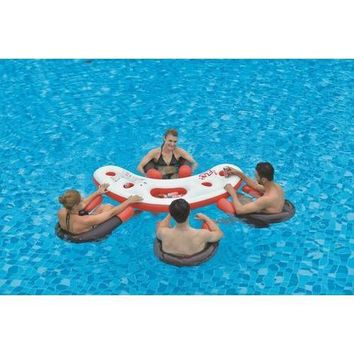 "67"" Inflatable Red  White  and Black Floating Swimming Pool Bar Set"