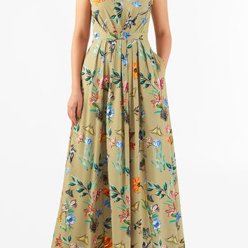 Floral butterfly print crepe pleated maxi dress