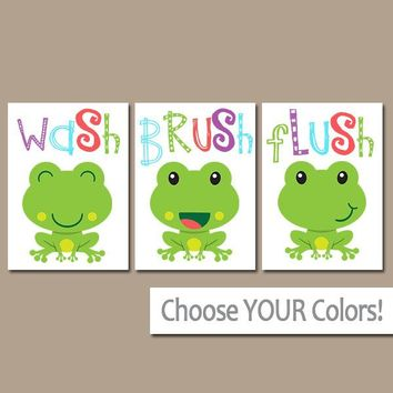 FROG Bathroom, Frog Wall Art, Kid Bathroom, Wash Brush Flush, Frog Theme, Kid Bathroom Decor, Brother Sister Bathroom, Boy Girl Set of 3