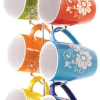 Home Basics 6-Piece Mug Set with Tree, Floral