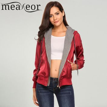 Women's Hoodie Patchwork Casual Jackets Front Zipper Warm Relaxed Fit Pockets Drawstring Bomber Basic Jacket