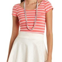 Striped Short Sleeve Crop Top by Charlotte Russe