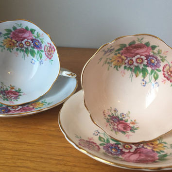 Paragon Light Blue and Peach Teacups and Saucers, Vintage Tea Set, Flower Tea Cups and Saucers, Floral Bone China