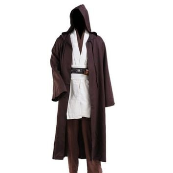 Halloween Jedi Cloak Cosplay Adult Men Hooded Robe Cloak Cape Halloween Costume Hot Sale