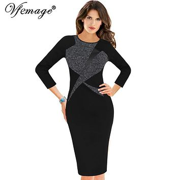 Vfemage Womens Autumn Winter Vintage 3/4 Sleeve Color-Blocked Contrast Patchwork Work Business Party Bodycon Pencil Dress 18325