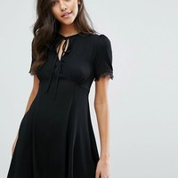Miss Selfridge Lace Trim Tea Dress at asos.com