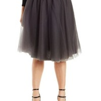Plus Size Gray Tulle Midi Skirt by Charlotte Russe