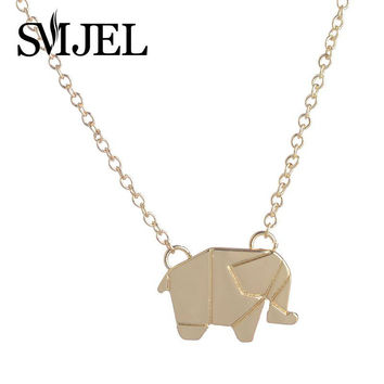 2016 New Fashion Dainty Origami Elephant GeometricAnimal Elephant Necklace Woodland Elephant Animal Jewelry N192