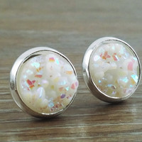 Small Druzy earrings- Opal white drusy silver tone stud druzy earrings