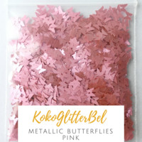 Metallic Butterflies- Pink