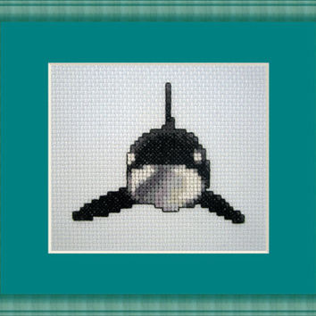 Killer Whale Encounter Cross Stitch Kit Animal Killer Whale,  Ocean Small Easy Beginner diy package craft supplies