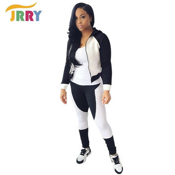 JRRY Casual Two Pieces Women Jumpsuit Long Sleeve Zippers Hoodie Top Long Pants Ladies Romper