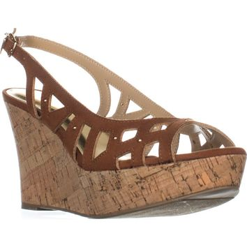 TS35 Ebbie Slingback Wedge Sandals, Cognac, 9.5 US