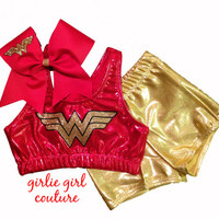 Custom Glitter Wonder Woman Cheer Set - Sports Bra, Bow and Shorts