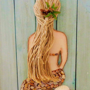 Mermaid Wall Decor- Beach Art- Coastal Collage on Wood- Mixed Media Mermaid- 11X27 inches