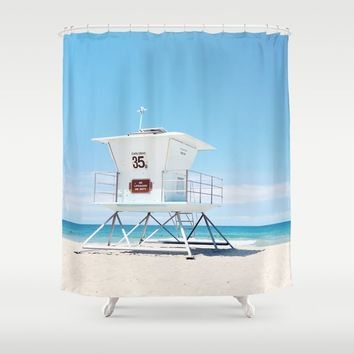 Lifeguard tower Carlsbad 35 Shower Curtain by sylviacookphotography