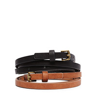 Roller Buckle Faux Leather Belt