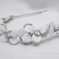 Vintage glass leaf and rhinestone chain tiara, wedding hair